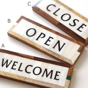看板 サインプレート 壁掛け WELCOME OPEN CLOSE ウェルカム オープン クローズ おしゃれ カフェ アンティーク モダン ウォール ボーンサインプレート3タイプ|gigiliving