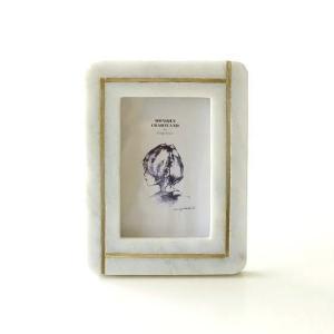 フォトフレーム ストーン 石 真鍮 写真立て おしゃれ モダン 縦置き 横置き タテ ヨコ L判 ストーン&真鍮のフォトフレーム スクエアA gigiliving