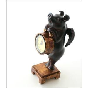 置き時計 置時計 おしゃれ かわいい アンティーク アナログ レトロ インテリア雑貨 豚 ぶた雑貨 置物 オブジェ プレゼント 天使のブタさんクロック|gigiliving|03