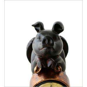 置き時計 置時計 おしゃれ かわいい アンティーク アナログ レトロ インテリア雑貨 豚 ぶた雑貨 置物 オブジェ プレゼント 天使のブタさんクロック|gigiliving|05