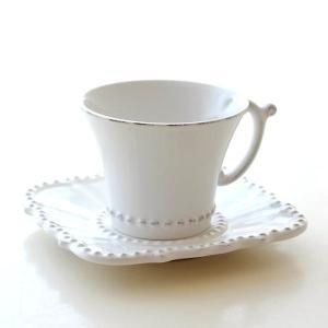 カップ&ソーサー おしゃれ 陶器 コーヒーカップ お皿 プレート セット 洋食器 ティーカップ バーレスクC&S WH|gigiliving