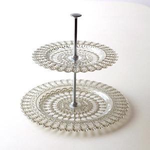 シックなゴールドペイントを施した トルコ製のガラススタンド  美しい柄が刻まれた 2段のガラスのプレ...