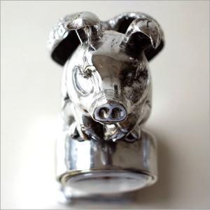 置き時計 置時計 おしゃれ アンティーク モダン アナログ インテリア デザイン かわいい シルバー ブタ ぶた 豚 置物 雑貨 天使のブタさんクロック プラチナ