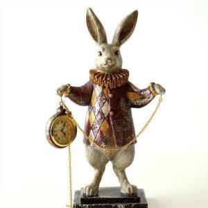 置き時計 置時計 おしゃれ アンティーク かわいい うさぎ 置物 雑貨 インテリア ウサギ オブジェ 懐中時計 ダイヤチェックラビット チェーンクロック|gigiliving