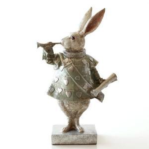 うさぎ ウサギ 置物 オブジェ インテリア アンティーク 雑貨 レトロ アンティークなバロックラビット レトログリーン|gigiliving
