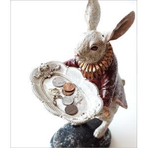 アクセサリートレイ うさぎ ウサギ 置物 置き物 雑貨 オブジェ 小物入れ アンティーク トレー レトロラビットの置物 トレイ gigiliving 02