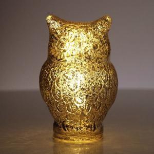 ゴールドペイントの ガラスのふくろうランプです  スイッチを入れると ゴールドに光るふくろうは 可愛...