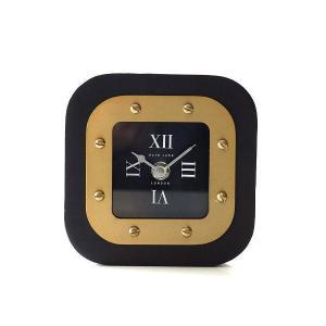 置き時計 おしゃれ ブラック ゴールド アナログ クラシック エレガント 高級感 スクエアテーブルクロック|gigiliving