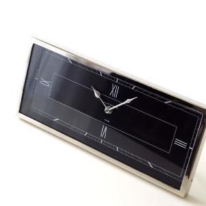 置き時計 おしゃれ シルバー ブラック 横長 デザイン アナログ クラシック エレガント 高級感 レクトテーブルクロック|gigiliving