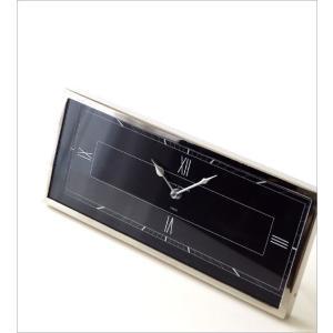 置き時計 おしゃれ シルバー ブラック 横長 デザイン アナログ クラシック エレガント 高級感 レクトテーブルクロック|gigiliving|02