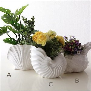 フラワーベース 花瓶 花びん 花器 おしゃれ 白 陶器のシェルベース 3タイプ|gigiliving