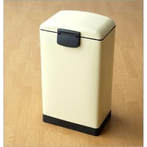 ペダルビン 30L ゴミ箱 ペダル式 ふた付き スリム 薄型 おしゃれ かわいい スクエアペダルビンL IV|gigiliving|05