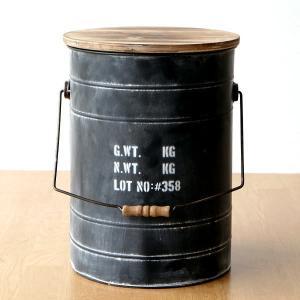 スツール 収納 おしゃれ アイアン 木製 ボックススツール ドラム缶 レトロ アンティーク シャビー デザイン コンパクト 円形 丸 スチールBOXスツール BK|gigiliving
