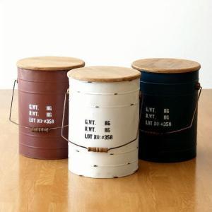 スツール 収納 ボックス アンティーク レトロ おしゃれ スチール 木製 椅子 収納ボックス 缶 ドラム缶風 シャビー 雑貨 木 スチールBOXスツール 3カラー|gigiliving