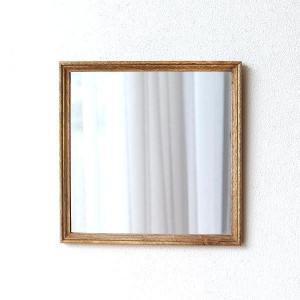 鏡 壁掛けミラー おしゃれ ウォールミラー 木製 天然木 四角 正方形 シンプル ナチュラル レトロなウッドフレームミラー|gigiliving
