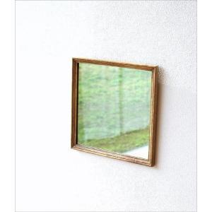 鏡 壁掛けミラー おしゃれ ウォールミラー 木製 天然木 四角 正方形 シンプル ナチュラル レトロなウッドフレームミラー gigiliving 02