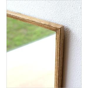 鏡 壁掛けミラー おしゃれ ウォールミラー 木製 天然木 四角 正方形 シンプル ナチュラル レトロなウッドフレームミラー gigiliving 03