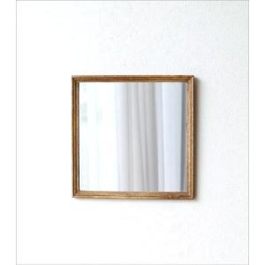 鏡 壁掛けミラー おしゃれ ウォールミラー 木製 天然木 四角 正方形 シンプル ナチュラル レトロなウッドフレームミラー gigiliving 05