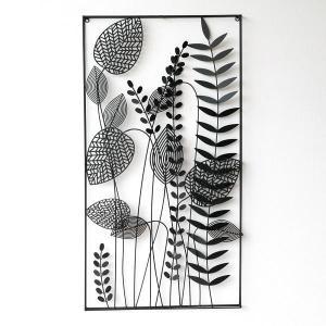 アートパネル 壁飾り アイアン モノトーン おしゃれ 植物 自然 壁掛け インテリア 壁面 装飾 飾り ウォールパネル アイアンの壁飾り シルエットフラワーC|gigiliving