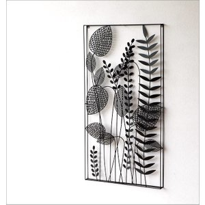 アートパネル 壁飾り アイアン モノトーン おしゃれ 植物 自然 壁掛け インテリア 壁面 装飾 飾り ウォールパネル アイアンの壁飾り シルエットフラワーC|gigiliving|02
