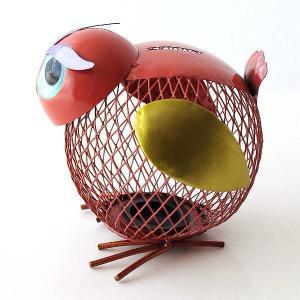 鳥 貯金箱 置物 ブリキ かわいい おしゃれ 可愛い インテリア 雑貨 丸い 丸型 ブリキのオブジェ バード貯金箱|gigiliving