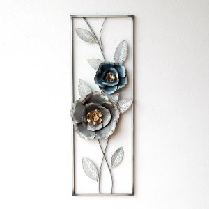 アートパネル おしゃれ アイアン 壁飾り 花 壁掛け インテリア アンティーク モダン ウォールパネル フレーム ウォールデコ アイアンの壁飾り シルバーフラワー|gigiliving