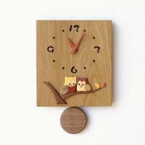 振り子時計 壁掛け おしゃれ 木製 日本製 手作り 天然木 無垢材 ふくろう かわいい 木の振り子時計 スクエア|gigiliving
