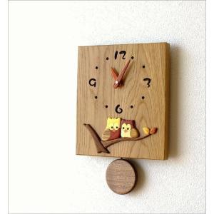 振り子時計 壁掛け おしゃれ 木製 日本製 手作り 天然木 無垢材 ふくろう かわいい 木の振り子時計 スクエア|gigiliving|02