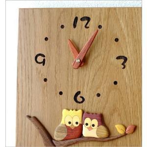 振り子時計 壁掛け おしゃれ 木製 日本製 手作り 天然木 無垢材 ふくろう かわいい 木の振り子時計 スクエア|gigiliving|03