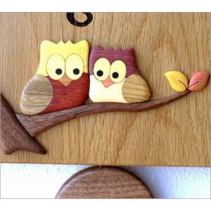 振り子時計 壁掛け おしゃれ 木製 日本製 手作り 天然木 無垢材 ふくろう かわいい 木の振り子時計 スクエア|gigiliving|04