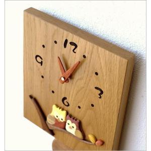 振り子時計 壁掛け おしゃれ 木製 日本製 手作り 天然木 無垢材 ふくろう かわいい 木の振り子時計 スクエア|gigiliving|05