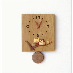 振り子時計 壁掛け おしゃれ 木製 日本製 手作り 天然木 無垢材 ふくろう かわいい 木の振り子時計 スクエア|gigiliving|07
