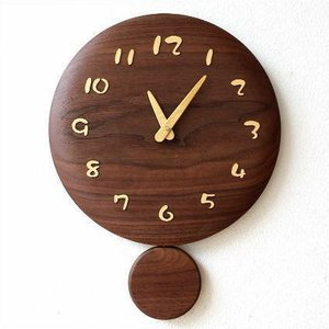 振り子時計 壁掛け おしゃれ 木製 日本製 手作り 天然木 無垢材 インテリア 和風 ナチュラル 木の振り子時計 サークル