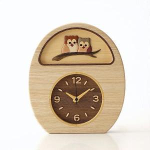 置き時計 壁掛け時計 壁掛時計 掛け時計 掛時計 アナログ ふくろう かわいい おしゃれ 木製 無垢 ナチュラル 日本製 ブラウン ウッドフクロウの掛け置き時計|gigiliving