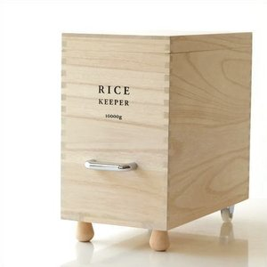 米びつ おしゃれ 桐 10kg スリム 米櫃 ライスストッカー お米 保存容器 防虫 キャスター付き 桐の米びつ L|gigiliving