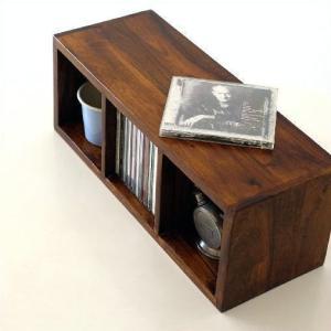 CDラック おしゃれ 木製 天然木 無垢 スリム CD収納 CDボックス 卓上 机上 ナチュラル アジアン ディスプレイ インテリア 3段 仕切り インドのウッドCDラックS|gigiliving