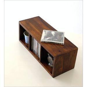 CDラック おしゃれ 木製 天然木 無垢 スリム CD収納 CDボックス 卓上 机上 ナチュラル アジアン ディスプレイ インテリア 3段 仕切り インドのウッドCDラックS|gigiliving|02