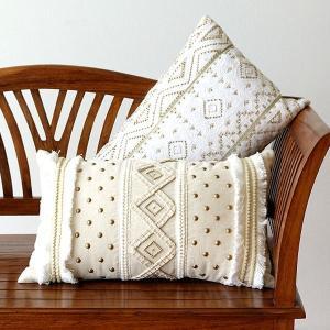 クッション 30×50 長方形 おしゃれ かわいい レクタングルビーズ刺繍クッション2タイプ|gigiliving