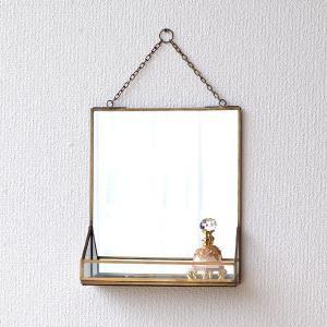 鏡 壁掛けミラー アンティーク おしゃれ シンプル 真鍮 トレイ レトロ ウォールミラー 化粧 玄関 トイレ 吊り下げ トレー付 ブラスフレームミラー|gigiliving