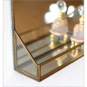 鏡 壁掛けミラー アンティーク おしゃれ シンプル 真鍮 トレイ レトロ ウォールミラー 化粧 玄関 トイレ 吊り下げ トレー付 ブラスフレームミラー|gigiliving|04