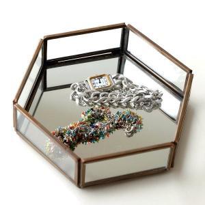 トレー トレイ 小物入れ おしゃれ アクセサリートレイ 小物置き 鏡 真鍮 六角形 卓上 小物 ディスプレイ シンプル アンティーク 六角ミラートレー|gigiliving