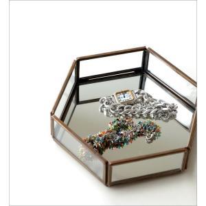 トレー トレイ 小物入れ おしゃれ アクセサリートレイ 小物置き 鏡 真鍮 六角形 卓上 小物 ディスプレイ シンプル アンティーク 六角ミラートレー|gigiliving|02