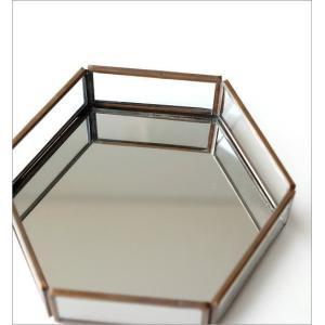 トレー トレイ 小物入れ おしゃれ アクセサリートレイ 小物置き 鏡 真鍮 六角形 卓上 小物 ディスプレイ シンプル アンティーク 六角ミラートレー|gigiliving|03