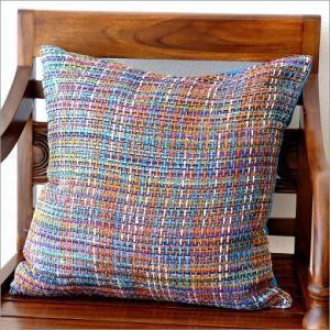 クッションカバー 45×45 おしゃれ 正方形 椅子 綿 絹 インテリア ファブリック シルクコットンクッションカバー BLの写真