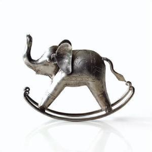 アイアン製のゾウの置物です ゆらゆらと揺れる ロッキングのゾウさん  シルバーアイアンのレトロな雰囲...