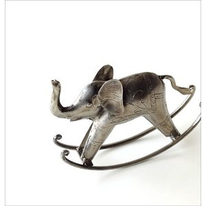 象 ゾウ 置物 オブジェ インテリア 雑貨 レトロ シルバー ロッキングゾウ|gigiliving|02
