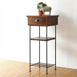 電話台 木製 アイアン スリム サイドテーブル 花台 ハイスタンド シーシャムとアイアンの電話台|gigiliving