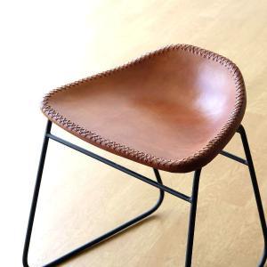 スツール アンティーク おしゃれ 椅子 いす イス チェア チェアー アイアンと本革のスツールAの写真