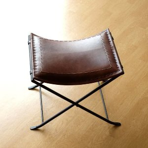 スツール 本革 椅子 イス いす アンティーク おしゃれ レザー チェア レトロ ベンチ ビンテージ 玄関 アイアンと本革の折りたたみスツール C|gigiliving