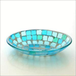 小物入れ アクセサリートレイ ガラス おしゃれ かわいい 卓上 トレー お皿 雑貨 収納 モザイクプレート ブルー|gigiliving